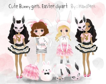 Cute Bunny girl ,Easter Clipart Set 1, Fashion Girl Clip Art  Instant Download PNG file - 300 dpi