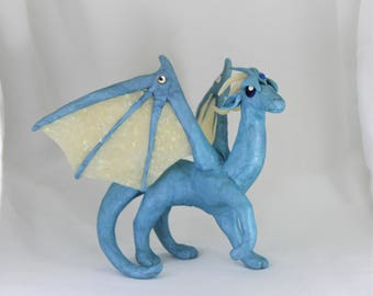 Spirit of Winter Dragon Sculpture Blue & Opal-glitter Polymer Clay OOAK by Danielle's Dragons
