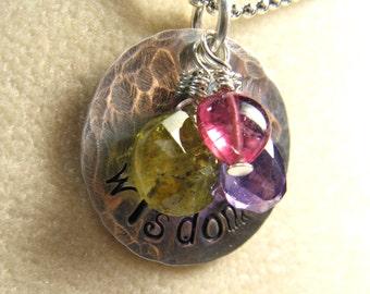 Wisdom necklace - sterling silver with rich purple amethyst, pink tourmaline, and green garnet gemstones - hand stamped