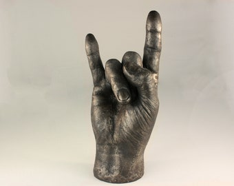 Hand sculpted Bronze life sz metalhead man devil horns sign of the horns heavy metal rock