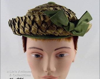 Vintage Raffia Hat,Vintage Olive Color Hat,Vintage Raffia Hat By DeJongs of Evansville Indiana,Unusual Color Vintage Hat (Inventory #HAT296)