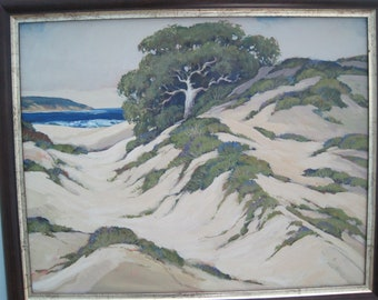 Original OIl Painting Monterey Sand Dunes after Percy Gray California Plein Air 16 x 20 Canvas Framed