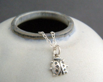 """tiny ladybug necklace. sterling silver lady bug pendant. spirit animal totem. small beetle. simple everyday jewelry. good luck charm 1/4"""""""