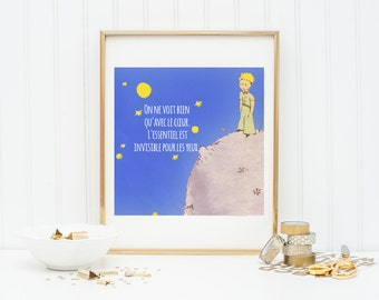 PRINTABLE The Little Prince-Le Petit Prince Quote Instant Download Art (10x10)