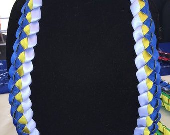 Custom Three Color Braided Ribbon Lei - You Choose Color (graduation, birthday, special occasion)