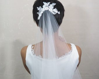Beaded Lace Bridal Comb Headpiece, Bridal Headpiece, Lace Bridal Comb