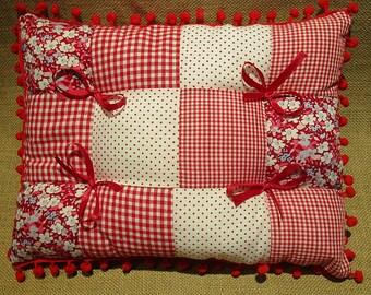 Red rectangular patchwork pillow