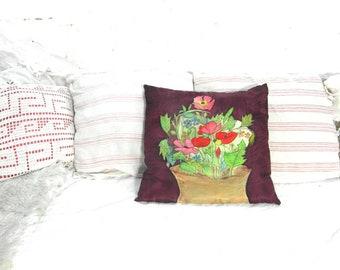 Coussin en soie floral peint à la main, coussin vintage fait à la main, coussin décoratif en soie, oreiller floral.