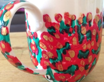 FREE POST bright designer red and pink and gold floral coffee mug