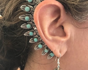 Navajo Sterling Silver & Turquoise Feather Ear Cuff