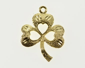 14K Textured Shamrock Clover Good Luck Symbo Charm/Pendant Yellow Gold