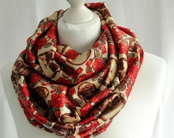 Skull print infinity scarf, Skulls and roses print scarf, Circle scarf, Gothic style scarf
