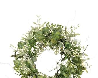 "Mixed Foliage Wreath 24"""