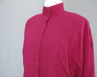 Dark Pink Blouse, Vintage 1980's Long Sleeved Batwing Top with High Collar by French Gear, Fits Size 14, Large