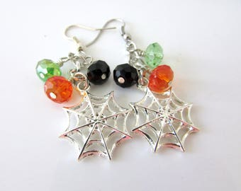 Spiderweb Earrings, Halloween Earrings, Silver Earrings, Beaded Earrings, Dangle Earrings, Halloween,  Gift For Woman, Free US Shipping