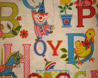 Raggedy Ann, Raggedy Andy, Alphabet and toys fabric (34 x 42 inches )