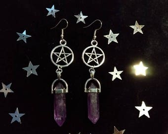Pentagram Amethyst Gemstone Earrings Wicca Pagan Witch Goth Gothic Alternative Jewelry Silver Purple Witch Witchy Earhook Handmade Gift Girl