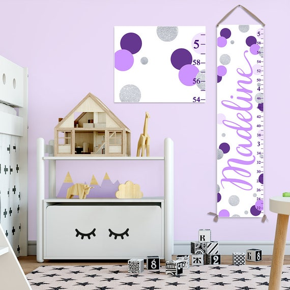Lavender and Silver Growth Chart, Purple and Silver Nursery Decor, Personalized Canvas Growth Chart, Polka Dots Growth Chart  - GC2034L