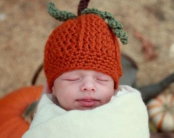 Baby Pumpkin Crochet Beanie Pattern