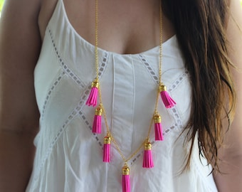 Hot Pink and Gold Tassel Long Chain Necklace.
