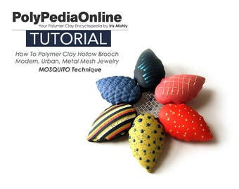 Polymer Clay Tutorial, Flower Pin, Flower Brooch, DIY Jewelry, Polymer Clay Brooch, Metal Mesh, Bead Tutorial, Fimo, Texture, Hollow Pattern