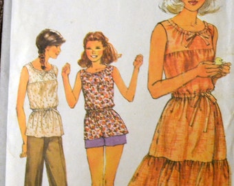 Vintage 1978 Sewing Pattern Simplicity 8483 Misses' Dress, Top, Pants, and Shorts Sizes  8  Bust 31 inches Complete UNCUT