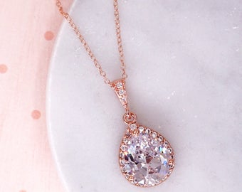 Lelanie - Rose Gold Luxe Cubic Zirconia Teardrop Necklace, gifts for her, Silver White weddings bridesmaids, bridal jewelry, crystal n62