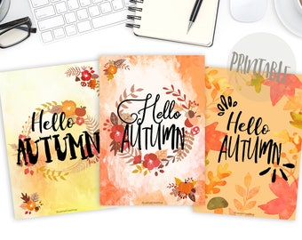 Autumn Planner Covers, Hello Autumn Dividers, Dividers Planner, Cover Printable, Dividers Printable, Bullet Journal Printable, Quote