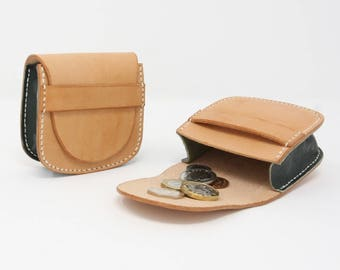 Large leather coin pouch, hand-stitched, with bespoke motif design