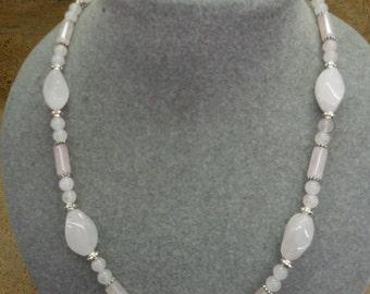 Rose quartz twist necklace