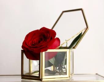 Glass jewelry box, Gold Glass Box, Jewellery Box, Wedding Ring Box, Wedding Gift, Gold Ring Box, Geometric Ring Box, Ring Bearer Box