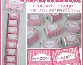 VALENTINE Chocolate Nugget Wrappers, Candy Favor or Treat - Printable Instant Download