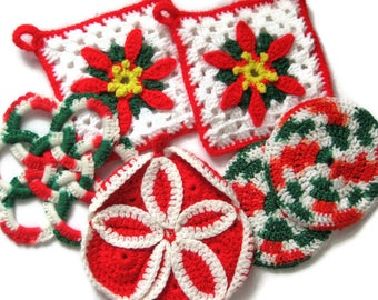 Vintage Christmas Crochet Trivet Lot Kitchen Art 6 Hot Pads Candy Cane Peppermint Red Green White Poinsettia Pad Pot Holder Snowflake