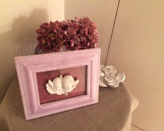 Wood frame painted in purple tone with Angels