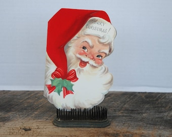 Vintage Merry Christmas Santa Face Card Flocked Red Hat Rust Craft