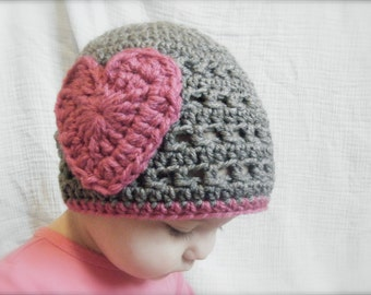 DIY Crochet Pattern:  iHeartU hat, size nb-adult, textured pink heart valentine hat, girly beanie, InStAnT DoWnLoAd, Permission to Sell