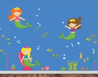 Mermaid Decals -  Childrens Wall Decal Reusable Fabric Decal