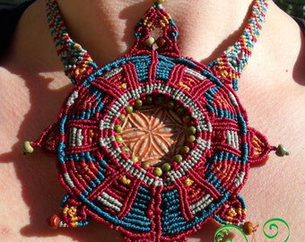 279 Necklace UNIQUE Macramé Flower of life Maya