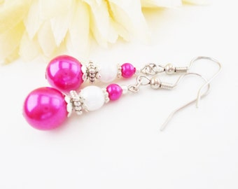 Hot Pink Earrings Sterling Silver, Fuchsia Pearl Earrings Handmade, Birthday Gift for Daughter, Bridesmaids Gift for Her Magenta Earrings