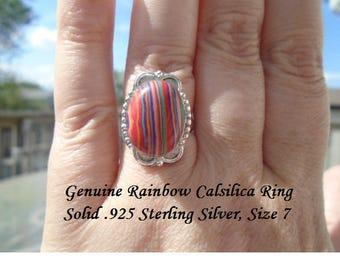 Genuine Rainbow Calsilica Ring