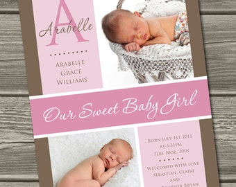 Baby Girl Birth Announcement (Digital File) Arabelle - I Design, You Print