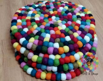 Round felt Ball Chair Mat Set of 4 pcs. Size 36 cm each. 100 % Wool