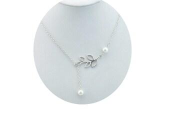Swarovski Pearl Lariat  Necklace , Silver Filigree Leaves , Silver Branch Lariat , Sterling Silver Lariat