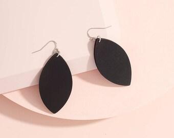 Black Leather earrings, Leaf earrings, Statement earrings, Marquee earrings Dangle and drop earring, light weight earrings, Simple dainty