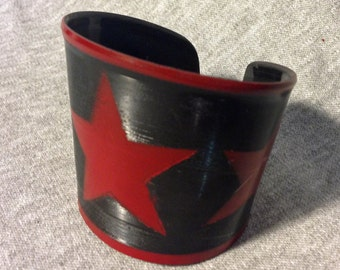 Upcycled Vinyl Record Cuff withTriple Star Design- Red Stencil on Black Vinyl