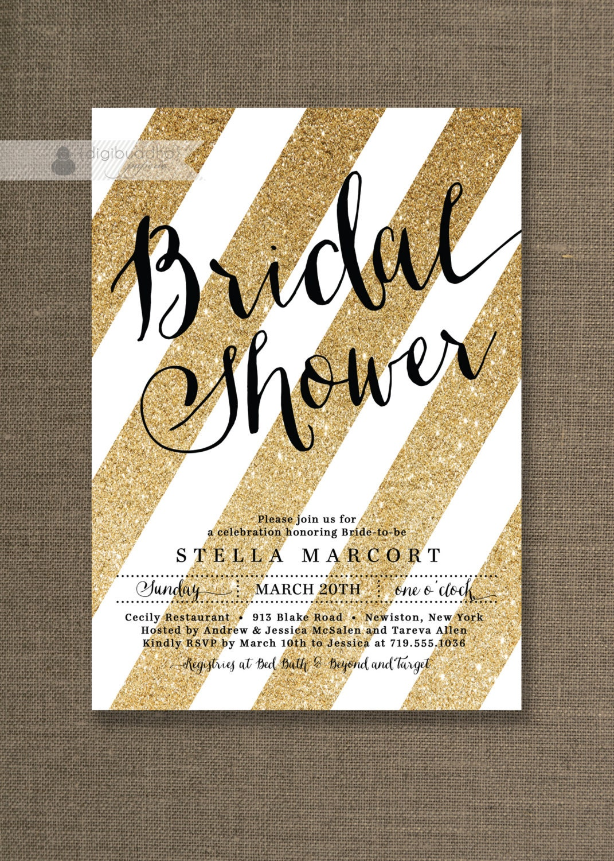 Black & Gold Bridal Shower Invitation Glitter Stripes Metallic
