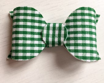 Large Green Gingham Bow