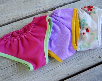 "18"" Doll Underwear ~ 3 pk Multicolored Panties ~ Fits American Girl ~ Cotton Set Knickers~AG underwear~Floral Cute Pattern~Pink Purple Blue"
