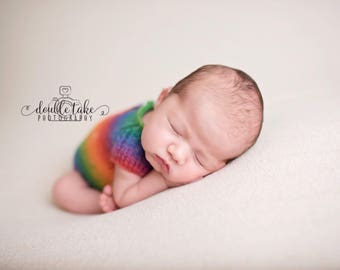 Rainbow Newborn Knit Romper - Knit Rainbow Romper - Rainbow Baby Photography Prop - Rainbow Newborn Photo Prop