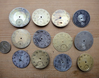 12x Old Antique pocket watch solid brass dials dial / Steampunk art project / Jewelry Making / clock Faces / watch Parts Mixed Media Cd6